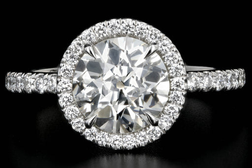 New Platinum 1.85 carat Old European Cut Diamond Engagement Ring GIA Certified - Queen May