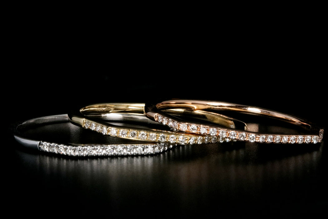 Modern 14K White, Yellow, or Rose Gold .07 Carat Diamond Half Bands - Queen May