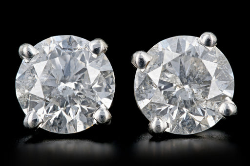 Modern 14K White Gold 2.61 CTW Diamond Studs Diamond & Gem Laboratories of America Certified
