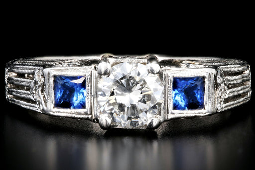 Art Deco Inspired 18K White Gold .50 Carat Diamond and Sapphire Ring