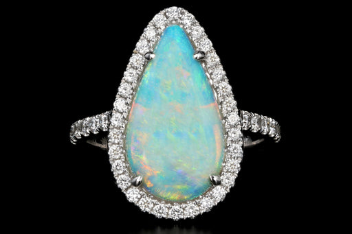 New 14K White Gold 1.9 Carat Pear Cut Opal and Diamond Ring