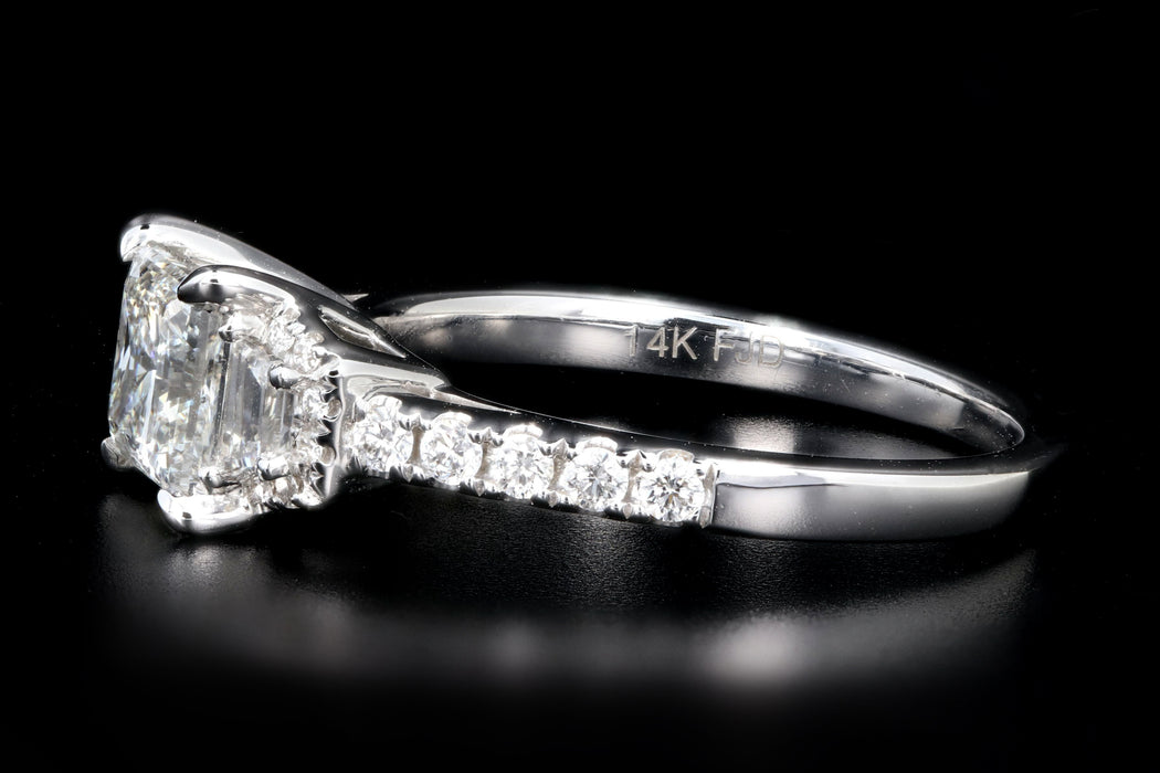 New 14K White Gold 1.04 Carat Princess Cut Diamond Engagement Ring GIA Certified - Queen May