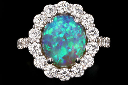 New 14K 2.98 Carat Opal and Diamond Halo Ring - Queen May
