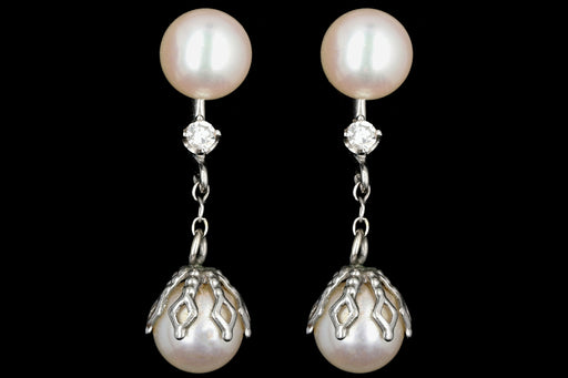 Retro 14K White Gold Double Pearl Drop Diamond Screwback Earrings c.1950's - Queen May