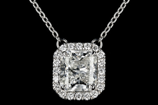New 14K White Gold 1.06 Carat Radiant Cut Halo Necklace GIA Certified - Queen May