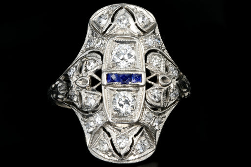 Art Deco Platinum .9 Carat Old European Cut Diamond and Sapphire Shield Style Ring - Queen May