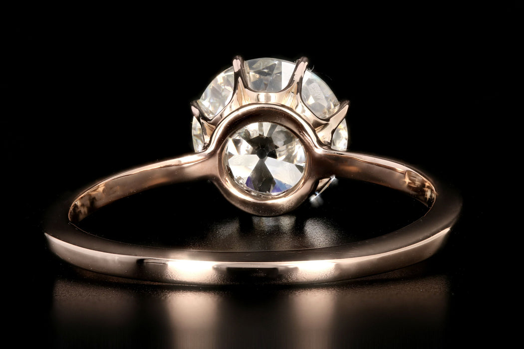 Victorian 14K Rose Gold 1.81 Carat Old European Cut Diamond Ring GIA Certified - Queen May