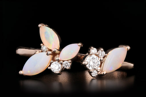 New 14K Rose Gold Opal Diamond Ring - Queen May