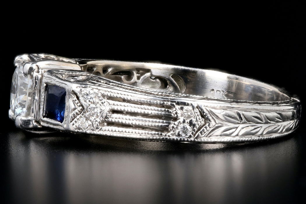 Art Deco Inspired 18K White Gold .50 Carat Diamond and Sapphire Ring - Queen May