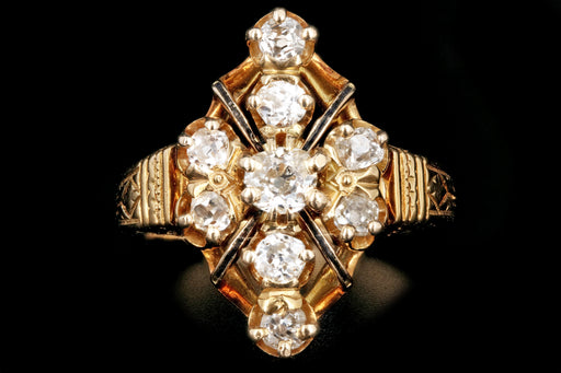 Victorian 18K Yellow Gold 1  Carat Old Mine Cut Diamond Ring - Queen May