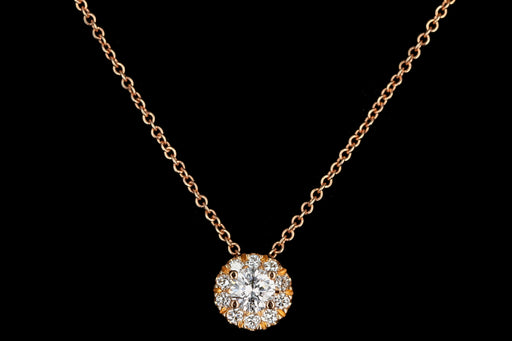 18K Rose Gold .20 Carat Diamond Halo Necklace - Queen May