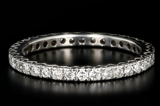 Vintage 14K White Gold .50 Carat Round Brilliant Cut Diamond Eternity Band - Queen May