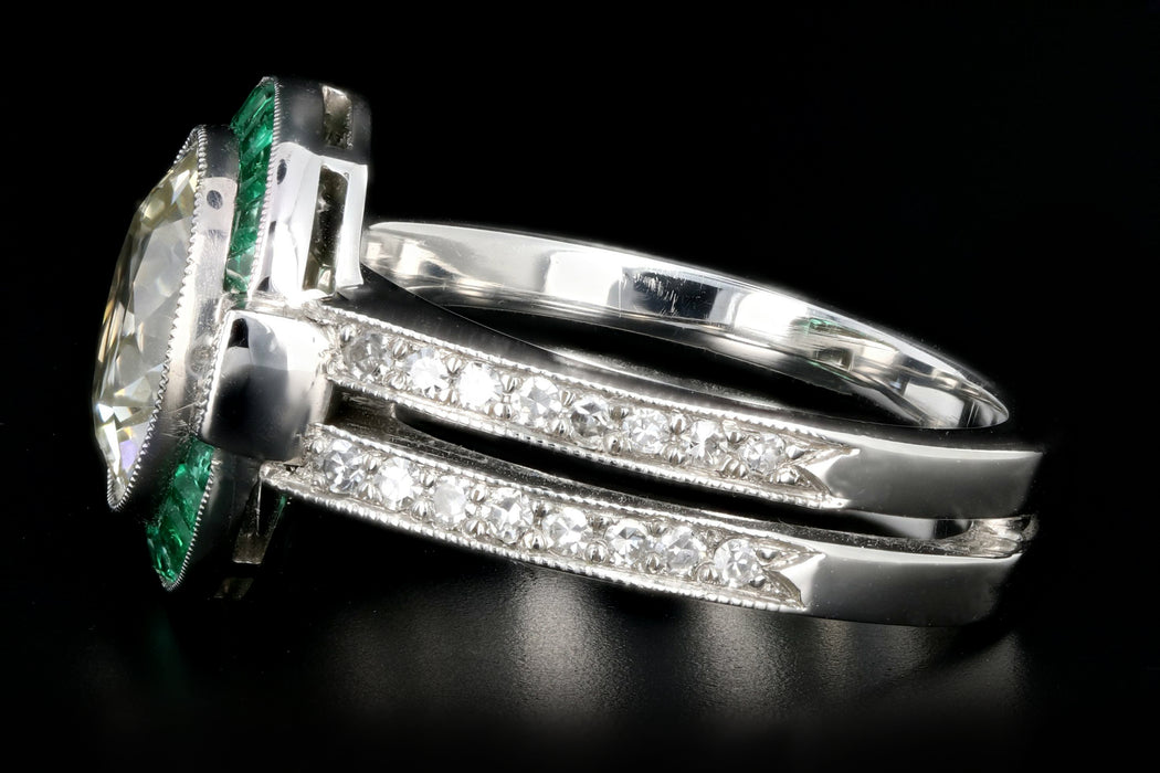 Platinum Art Deco 3 Carat Old European Cut Diamond and Emerald Halo Ring - Queen May