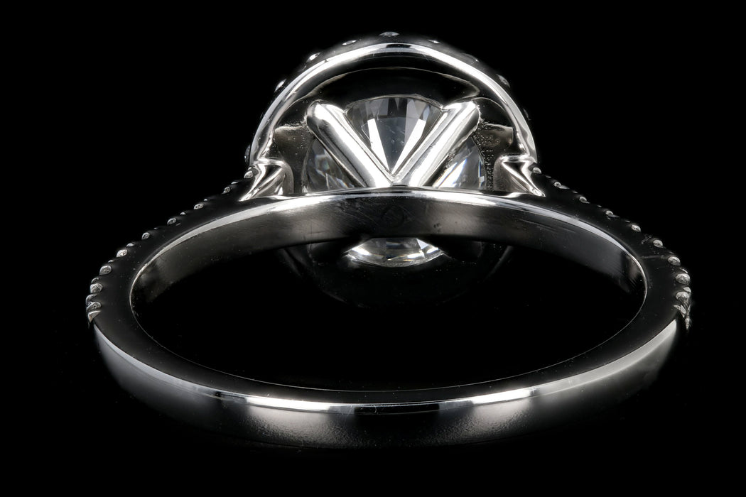 New Platinum 1.56 Carat Round Brilliant Cut Diamond Halo Engagement Ring GIA Certified - Queen May