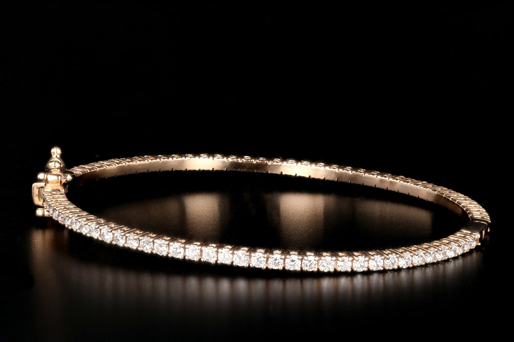 New 14K White, Yellow or Rose Gold 2.48 Carat Round Brilliant Cut Diamond Bangle - Queen May