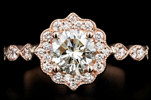 New 14K Rose Gold 1.02 Carat Round Brilliant Cut Diamond Engagement Ring GIA Certified - Queen May