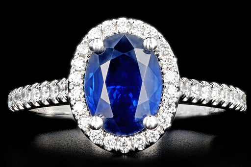 New 14K White Gold 1.58 Carat Oval Cut Sapphire and Diamond Halo Ring - Queen May