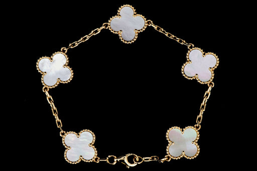Van Cleef & Arpels Mother of Pearl Alhambra 18K Yellow Gold 5 Motifs Bracelet