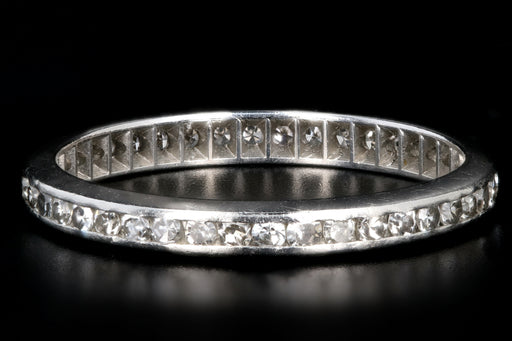 Art Deco Platinum .50 Carat Single Cut Diamond Eternity Band Dated 11.28.36 - Queen May