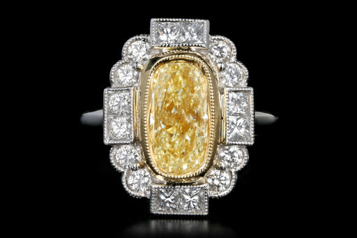 New 14K White Gold 2.04 Light Yellow Cushion Cut and White Diamond Ring