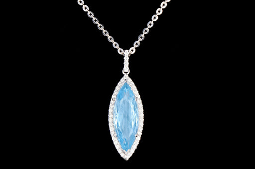 New 14K White Gold 4.47 Carat Marquise Cut Aquamarine and Diamond Halo Necklace - Queen May