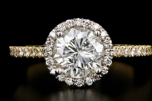New 18K Yellow and White Gold 1.26 Carat Round Brilliant Cut Diamond Halo Engagement Ring GIA Certified - Queen May