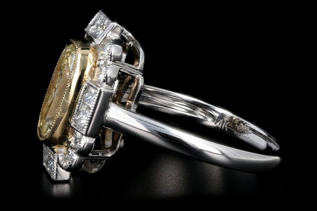 New 14K White Gold 2.04 Light Yellow Cushion Cut and White Diamond Ring - Queen May