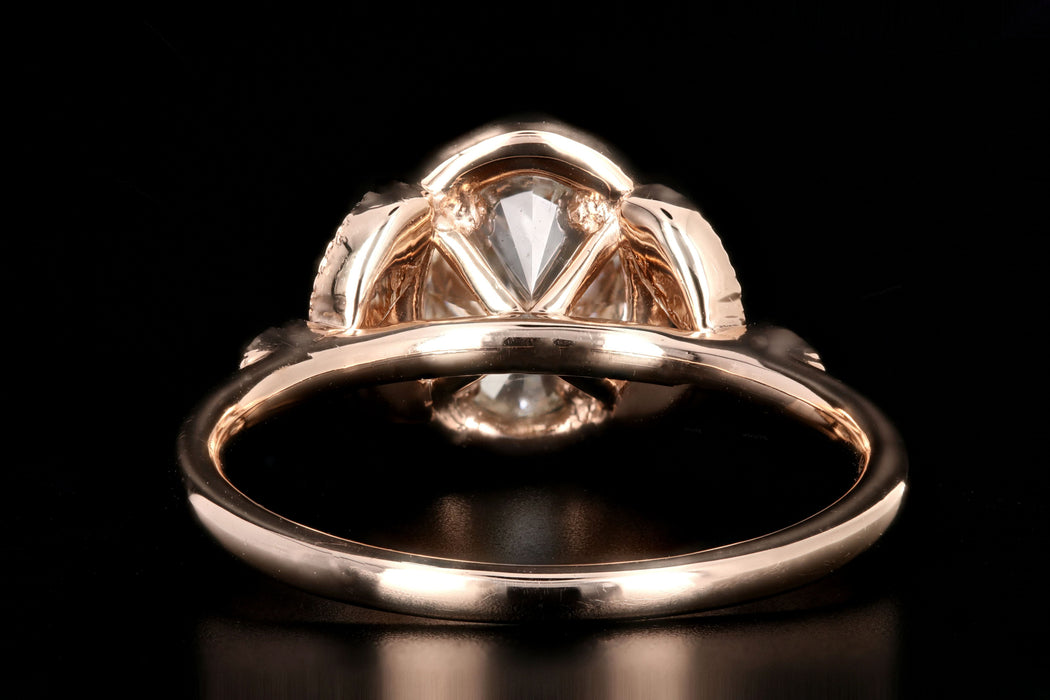 New 18K Rose Gold 1.22 Carat Oval Cut Diamond Halo Engagement Ring GIA Certified - Queen May