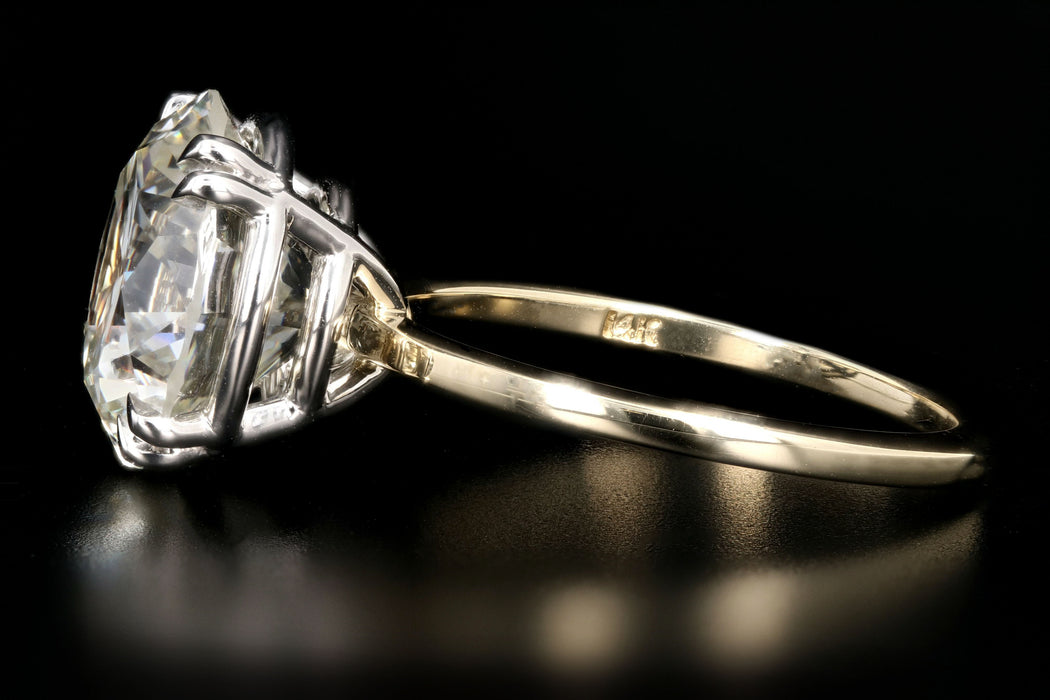 New 18K Yellow Gold and Platinum 6.20 Carat Round Brilliant Cut Diamond Engagement Ring GIA Certiifed - Queen May