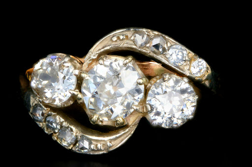 Edwardian 18K White & Yellow Gold  1.86 Carat Old Mine, Old European and Rose Cut Diamond Ring - Queen May