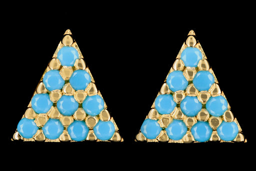 New 14K Yellow Gold Turquoise Pyramid Earrings - Queen May