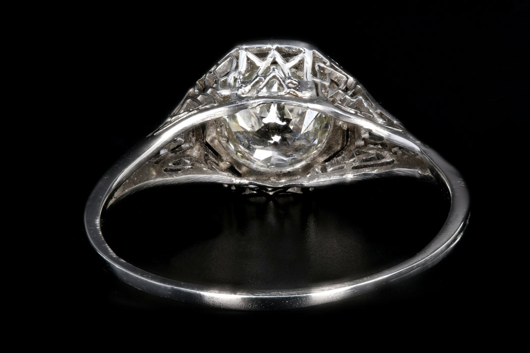 Art Deco Platinum .85 Carat Old European Cut Diamond Engagement Ring - Queen May