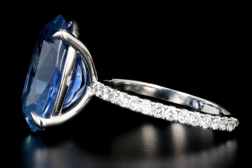 New Platinum 9.72 Carat Cornflower Oval Cut No Heat Sapphire and Diamond Ring GIA Certified - Queen May