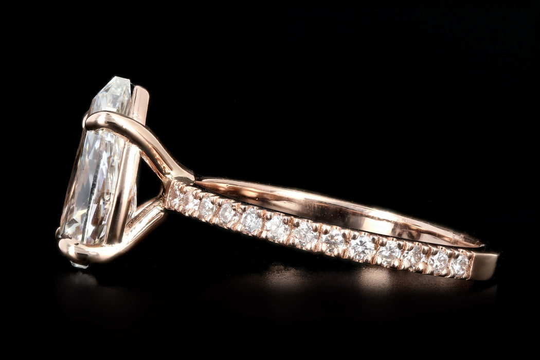 New 14K Rose Gold 2.24 Pear Cut Diamond Engagement Ring GIA Certified - Queen May
