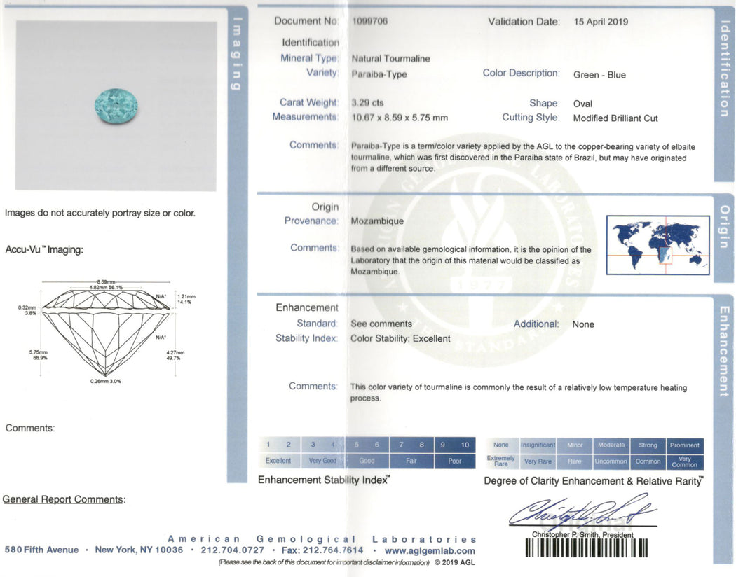 New 18K White Gold 3.29 Carat Paraiba-Type Tourmaline & Diamond Halo Ring AGL Certified - Queen May
