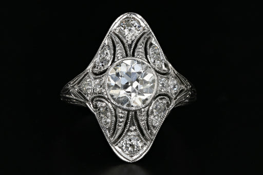 Art Deco 18K White Gold 1.15 Carat Old European Cut Diamond Shield Ring GIA Certified