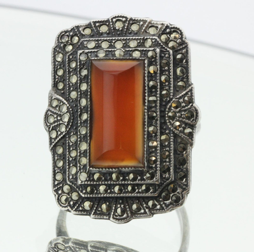 Antique Sterling Silver Art Deco Uncas MFG Co Marcasite & Carnelian Ring - Queen May