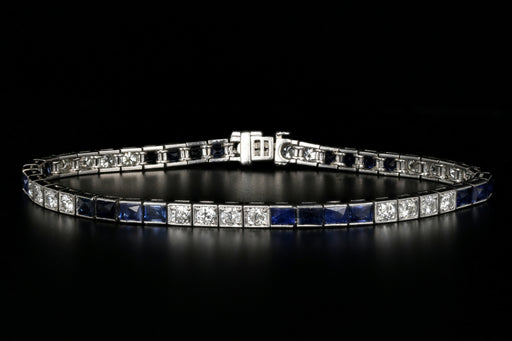 Art Deco Platinum 3.5 Carat French Cut Sapphire & Diamond Tennis Bracelet