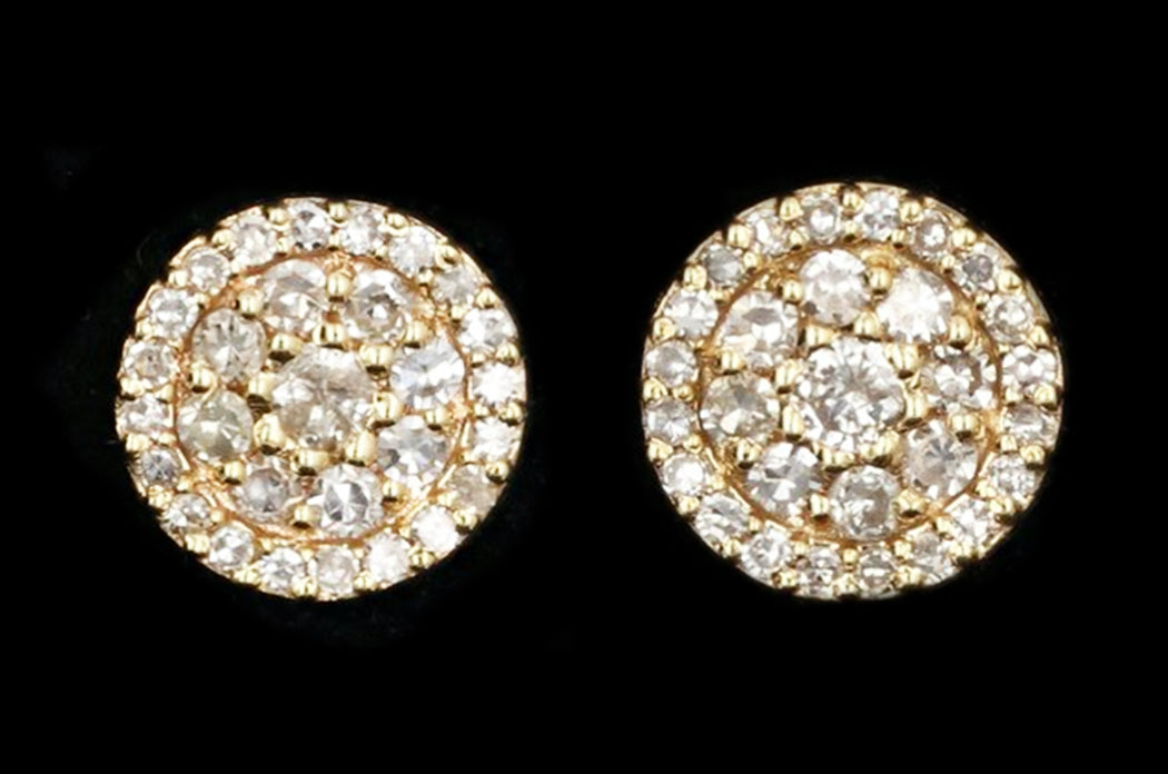 14K Yellow Gold Round Diamond Cluster Earrings - Queen May