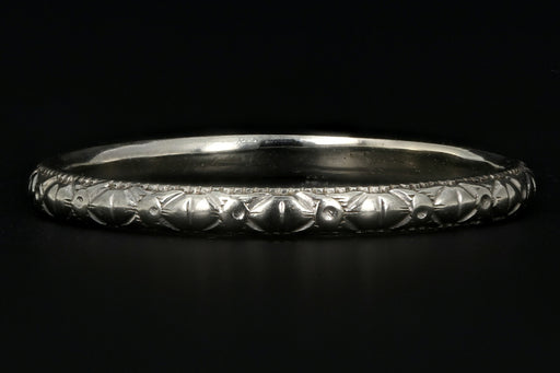 Art Deco 18K White Gold Hand Etched Band - Queen May