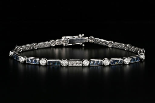 Modern 18K White Gold 3 Carat French Cut Sapphire & Diamond Tennis Bracelet - Queen May