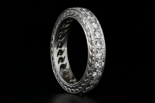Art Deco Style Platinum & Diamond Wedding Band - Queen May
