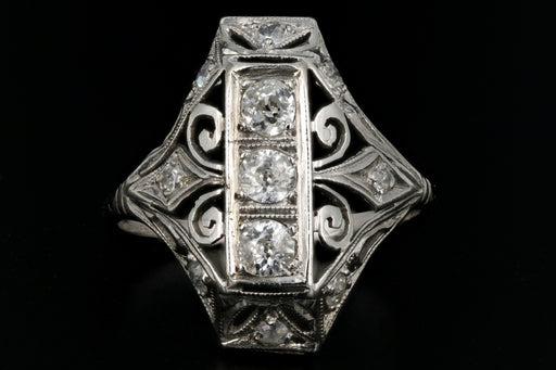 Art Deco Platinum 1/2 Carat 3 Stone Diamond Ring c.1920's - Queen May