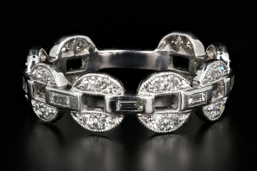 Modern Platinum .70 Carat Diamond Weight Total Circle Link Band - Queen May