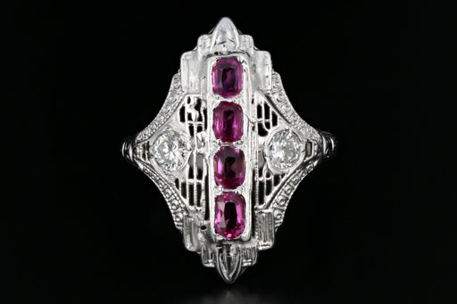 Art Deco 18K White Gold .65 Carat Ruby & Diamond Shield Ring - Queen May