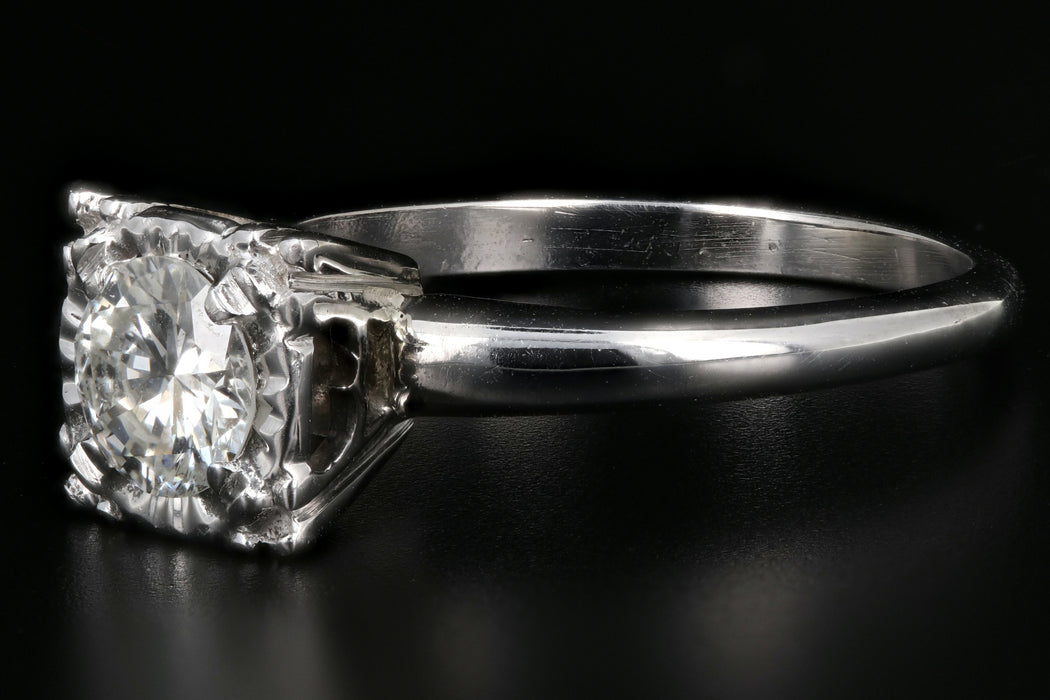 Mid-Century 14K White Gold .65 Carat Round Cut Diamond Ring c.1950's - Queen May