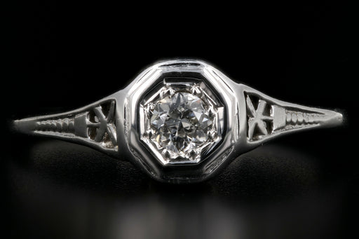 Art Deco 18K White Gold .13CT Diamond Engagement Ring c.1930's - Queen May