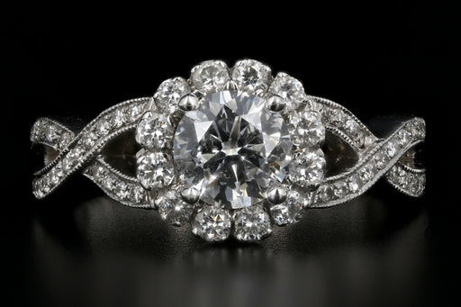 18K White Gold .92 Carat Diamond Halo Engagement Ring GIA Certified - Queen May