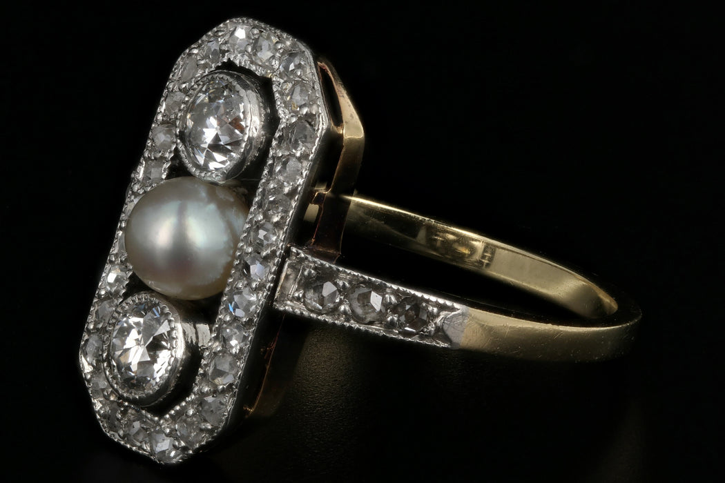 Edwardian 14K Yellow Gold & Platinum Diamond Pearl Ring c.1910 - Queen May