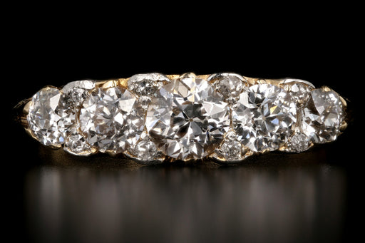 Victorian 18k Yellow Gold and Platinum 1.90CTW Old European Cut Diamond Band - Queen May
